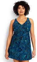 Lands' End Women's Plus Size Slender Underwire Sweetheart Swim Cover-up Dress-Scuba Blue Bandana Paisley