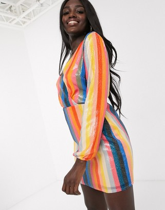 Outrageous Fortune sequin wrap front mini dress in rainbow stripe
