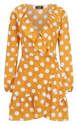 Dorothy Perkins Womens Girls On Film Yellow Polka Dot Print Frill Dress