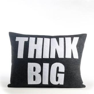 Alexandra Ferguson Mantras Think Big Lumbar Pillow Color: Charcoal Felt / White