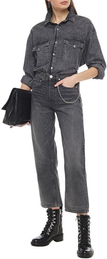 Thumbnail for your product : Rag & Bone Maya Cropped Chain-embellished High-rise Straight-leg Jeans