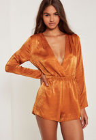 Missguided Silky Wrap Playsuit Toffee