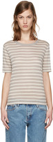 Alexander Wang Beige and Taupe Striped T-shirt