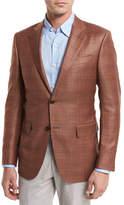 Ermenegildo Zegna Plaid Wool Two-Button Sport Coat, Rust