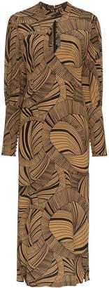 De La Vali Jane dizzy print keyhole silk dress