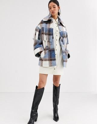 ASOS wool check fringed Coat