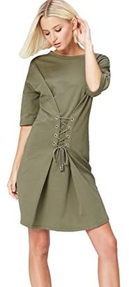 find. Women's Dress with Corsette Tie Waist with 3/4 Sleeves and Crew Neck, (Manufacturer size: Small)