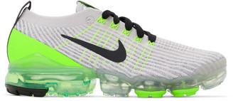 Nike Grey and Green Air VaporMax Flyknit 3 Sneakers