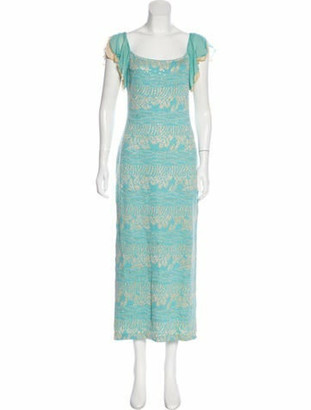 St. John Embellished Maxi Dress Aqua