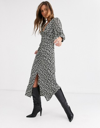 Topshop midi dress with split front in floral print