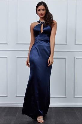 Goddiva Vicky Pattison Navy Halter Neck Buckle Maxi Dress