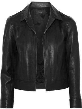 Theory Cropped Paneled Leather Jacket