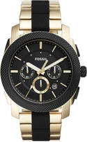 Fossil Men's Chronograph Machine Gold-Tone Stainless Steel & Black Silicone Bracelet Watch 45mm FS5261