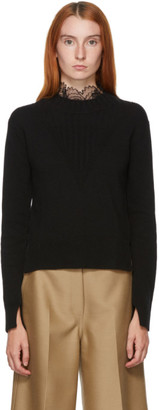 See by Chloe Black Fitted Lace Collar Sweater