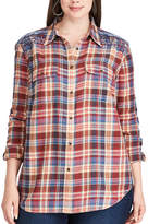 Chaps Plus Size Plaid Cotton Work Shirt