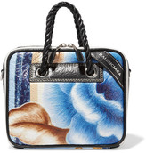 Balenciaga Blanket Small Floral-print Textured-leather Tote - Blue