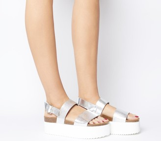 Office Moody Two Strap Flatforms Silver