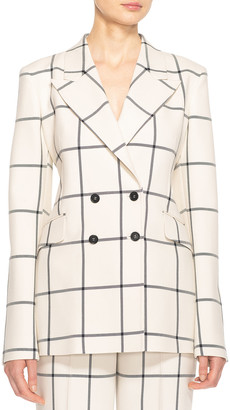 Gabriela Hearst Angela Double-Breasted Windowpane Blazer