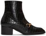 Stella McCartney Black Croc-Embossed Chain Boots
