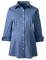 Lands' End Women's Maternity 3/4 Sleeve Stretch Broadcloth Shirt-True Blue Stripe