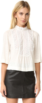 Rebecca Taylor Long Sleeve Linen and Lace Tee