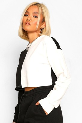 boohoo Petite Colour Block Cropped Sweat Shirt
