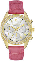 CARAVELLE, NEW YORK Caravelle New York Womens Crystal-Accent Pink Leather Strap Sport Watch 44L169