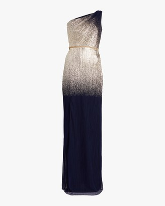 Marchesa One-Shoulder Pleated Foil Gown