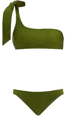 Zimmermann Empire One-shoulder Bikini - Dark Green