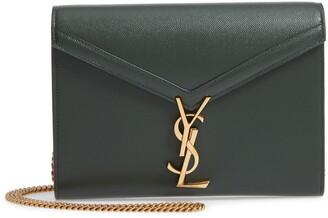 Saint Laurent Cassandra Leather Wallet on a Chain