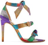Alexandre Birman Lolita Bow-embellished Striped Lamé Sandals - Purple