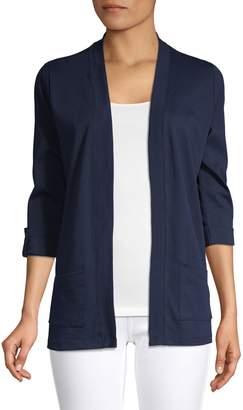 Karen Scott Petite Three-Quarter-Sleeve Open Front Cardigan