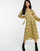 Asos Design DESIGN Long sleeve tie front midi dress in yellow floral