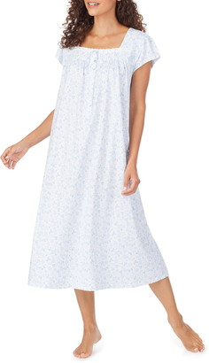 Eileen West Floral Print Lightweight Jersey Nightgown