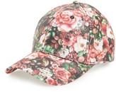 Amici Accessories Women's Rose Floral Print Ball Cap - Black