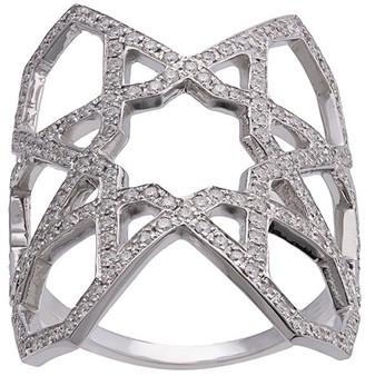 Ralph Masri 18kt White Gold Diamond Geometric Ring