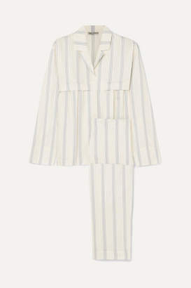 Three Graces London Moore And Marmee Striped Cotton-voile Pajama Set - Cream