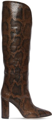 Paris Texas 100mm Python Print Leather Tall Boots