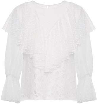 See by Chloe Ruffled Cotton-blend Point D'esprit And Corded Lace Blouse