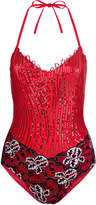 Magic Fuchsia soutache and Leavers lace swimsuit