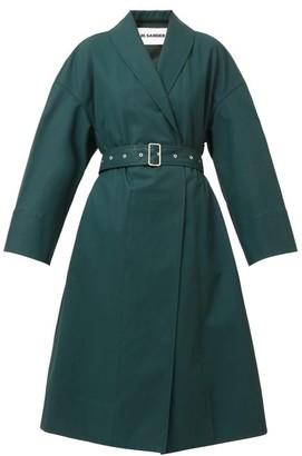 Jil Sander Shawl-lapel Belted Cotton-twill Coat - Dark Green