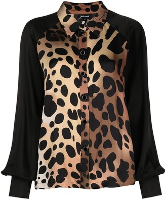 Just Cavalli Leopard-Print Satin Shirt