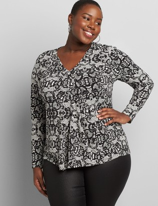 Lane Bryant Knit Kit Long-Sleeve Pleat-Front Top