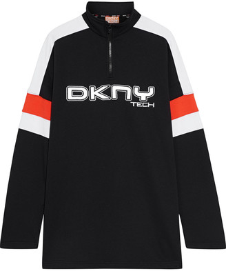 DKNY Embroidered French Cotton-blend Terry Sweatshirt