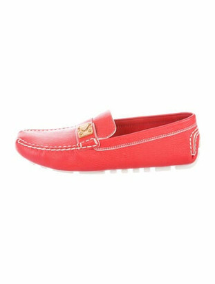 Louis Vuitton Leather Whipstitch Trim Loafers Red