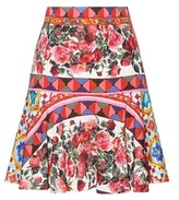 Dolce & Gabbana Printed Stretch-silk Skirt