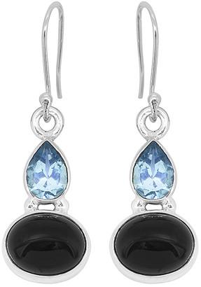 YS Gems Women's Earrings Black - Black Onyx & Blue Topaz Oval Teardrop Earrings