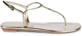 Prada Donna Metallic Leather Thong Slingback Sandals