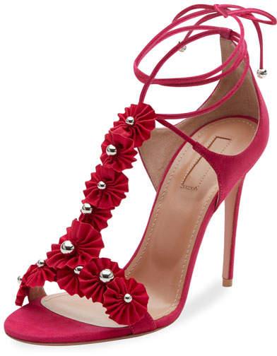 Aquazzura Studded Suede Ankle-Tie Sandal
