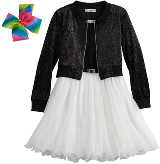 Knitworks Girls 7-16 & Plus Size Belted Wire Hem Skater Dress & Bomber Jacket Set with Hair Bow